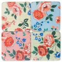 Bloom Floral Flowery Drink Table Coasters Set - Resin Stone Ceramic Cork Base