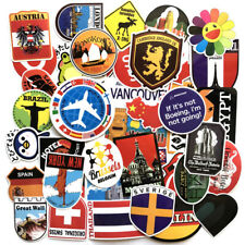 World Traveler Famous City National Flag Stickers for Skateboard/Luggage/Laptop