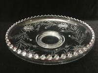 """Vintage Crystal Etched Bowl Fruit Floral Serving Glass, 12 1/2"""" Dia x 2 3/4"""" H"""