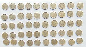50 Silver U,S. Dimes -1940-64 - 90% Silver - Circulated-Ungraded B