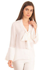 RRP €255 ALICE + OLIVIA Silk Top Blouse Size S Long Flared Sleeve Tie Neck