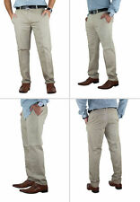 Casual Mens Chino Jeans Bottom Cotton Pants Slim Fit Straight Leg Trousers. Beige 36 32