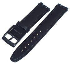Uhrenarmband kompatibel für Swatch schwarz 17 mm echtes Leder