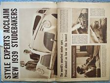 1939 STUDEBAKER BROCHURE NEWSPAPER STYLE EXPERTS ACCLAIM NEW 1939 STUDEBAKERS