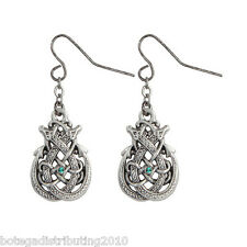 """Celtic Double Dragon Hook Earrings Silver Lead Free Pewter Green Stone 3/4"""""""