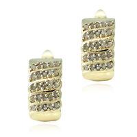 18K Plaqué or 1/2ct Diamants Boucles D'Oreilles Strass