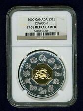 "CANADA  2000 15 DOLLARS ""YEAR OF DRAGON"" COIN NGC CERTIFIED PROOF-68 ULTRA CAMEO"