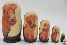 "Russian 6"" Nesting Doll Irish Welsh Terrier Dog 5 Pc"