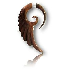 PAIR SONO WOOD FAKE CHEATER FEATHER PLUGS (2G HEADS SPIRALS TRIBAL GAUGES PLUG