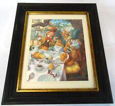 "Vintage 1994 LE Signed 17"" Scott Gustafson Alice Wonderland Mad Tea Party Print"