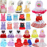 Pet Dog Bow Dress Summer Lace Stripe Vest Skirt Clothes Puppy Cat Wedding Supply