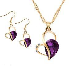 Crystal Women Pendant Love Heart Waterdrop Earrings Jewelry Necklace Set Purple
