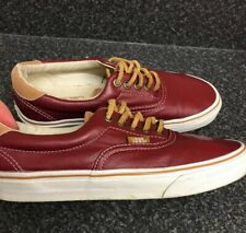 VANS ERA 59 UK 6 Biking Red Brown Sugar Leather Trainers Unisex Boat Deck Shoes