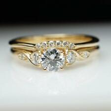 Round Cut Vintage Diamond Yellow Gold Finish Women Wedding Bridal Set Ring Band