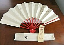 Japanese PAPER Folded Fan, GOLD Leaf Painted Both Sides RED Lacquered Handle-Box