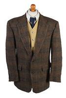 "Vintage Harris Tweed Blazer Jacket Classic Windowpane Chest 44"" Brown - HT2864"