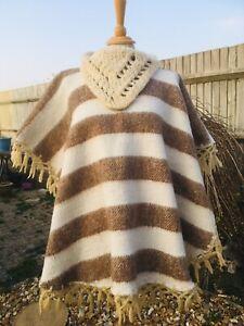 Vintage 60s 70s Handmade Wool Blanket Fringe hippy PONCHO Cape Boho coat O/S