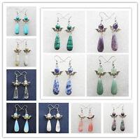 Mixed Stone Teardrop & Tibet Silver Wing Earrings Pick 1pair or 11pair S19