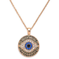 Evil Eye Necklace Blue Eye Rhinestones Pendant Turkish Jewelry Gold Long Chain