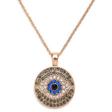 Evil Eye Necklace Dark Blue Rhinestones Pendant Turkish Jewelry Turkey Sweater