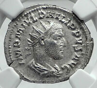 PHILIP I the ARAB Authentic Ancient 244AD Ancient SILVER Roman Coin NGC i81342