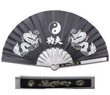 HEAVY DUTY STEEL BLACK DRAGON  CHINESE KUNG FU TAI CHI FAN Martial Arts Hand