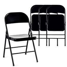 Set of 4 Steel Folding Chairs Heavy Duty Armless Chair Metal Home Office Black