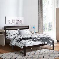Solid Wood Platform Bed w/Headboard Full Size Bed Frame Slat Support Espresso
