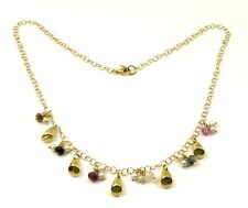 """18k Yellow Gold Vintage Women's Necklace With Pearls & Multi Color Stones 16"""""""