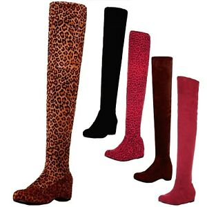 over knee Boots Fashion Celebrity Classic Flats Shoes Casual Elegant US 4-13