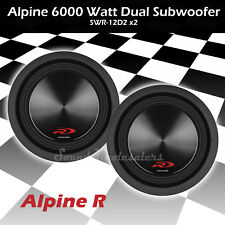 "2 X ALPINE TYPE-R SWR-12D2 12"" 6000 WATT DUAL 2-OHM CAR AUDIO SUBWOOFERS SUBS"