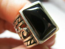 STERLING SILVER 925 ESTATE SILPADA BLACK ONYX SCROLL WIDE BAND RING SIZE 5