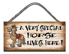 SHABBY CHIC FUNNY SIGN A VERY SPECIAL HORSE LIVES HERE GIFT PRESENT 02