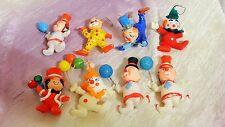 Vintage Flocked Plastic Christmas CLOWNS Ornaments