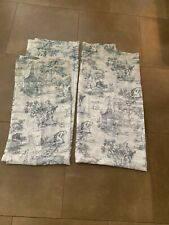 2 58 X 64 Green Sheer/See-Through Curtains~French Country Toile Shabby Chic