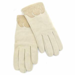 New Vtg ESCADA Margaretha Ley Sand /Tan Wave Cut-Out Ladies Suede Gloves sz 7.5