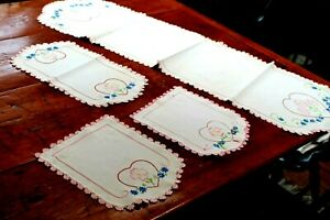 Vintage 4 PC Linen Dresser Set Hand Embroidery and Crochet