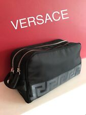 VERSACE DESIGNER MENS BLACK TOILETRY BAG WASH TRAVEL Weekend Case BRAND NEW