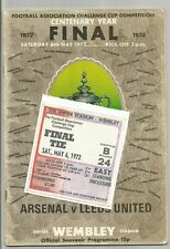 1972 FA Cup Final Arsenal v Leeds United programme/ticket