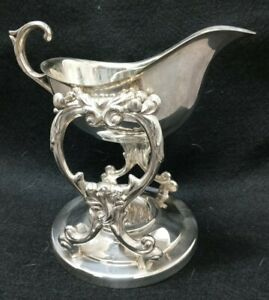 Exceptional Silver Plated TOWLE SAUCIER Sauce Boat on Stand Silver on Copper