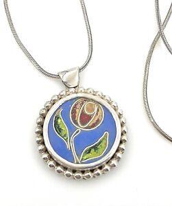 """Vintage .925 Sterling Silver & Enamel Floral Bead Trimmed Pendant Necklace, 16"""""""