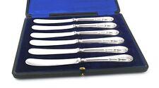 Antique Edwardian Sterling Silver Tea Butter Knives Cased Set of 6 1910