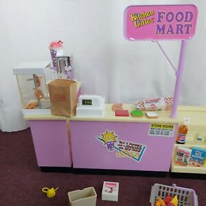 Vintage Tyco Barbie Kitchen Littles Food Mart with 52 Accessories from 1995
