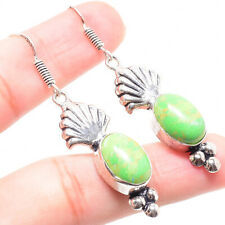 Green Turquoise Gemstone 925 Sterling Silver Earring 1.38 Inch ER-111