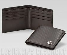 GUCCI Mens brown DIAMANTE Leather diamond INTERLOCKING G Bifold wallet NIB Auth