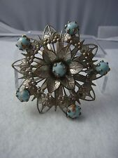 SILVER TONE FAUX TURQUOISE LUCITE CABOCHON FLOWER LAYERED SOUTHWESTERN PIN H-21