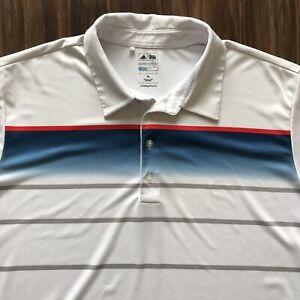 Adidas Puremotion Mens Golf White Blue Logo Cool max Short Sleeve Polo Shirt XL