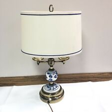 Accent Table Lamp Oval Shade Blue White Floral Porcelain Brass 2 Bulb Asian