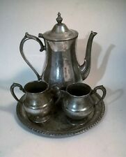 Vintage International Silver Company Hand Crafted Silver on Copper Tea Set