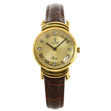 Vicence Milor 585 Men Watch Italy 14K Gold Quartz Swiss Parts Leather Strap 26mm